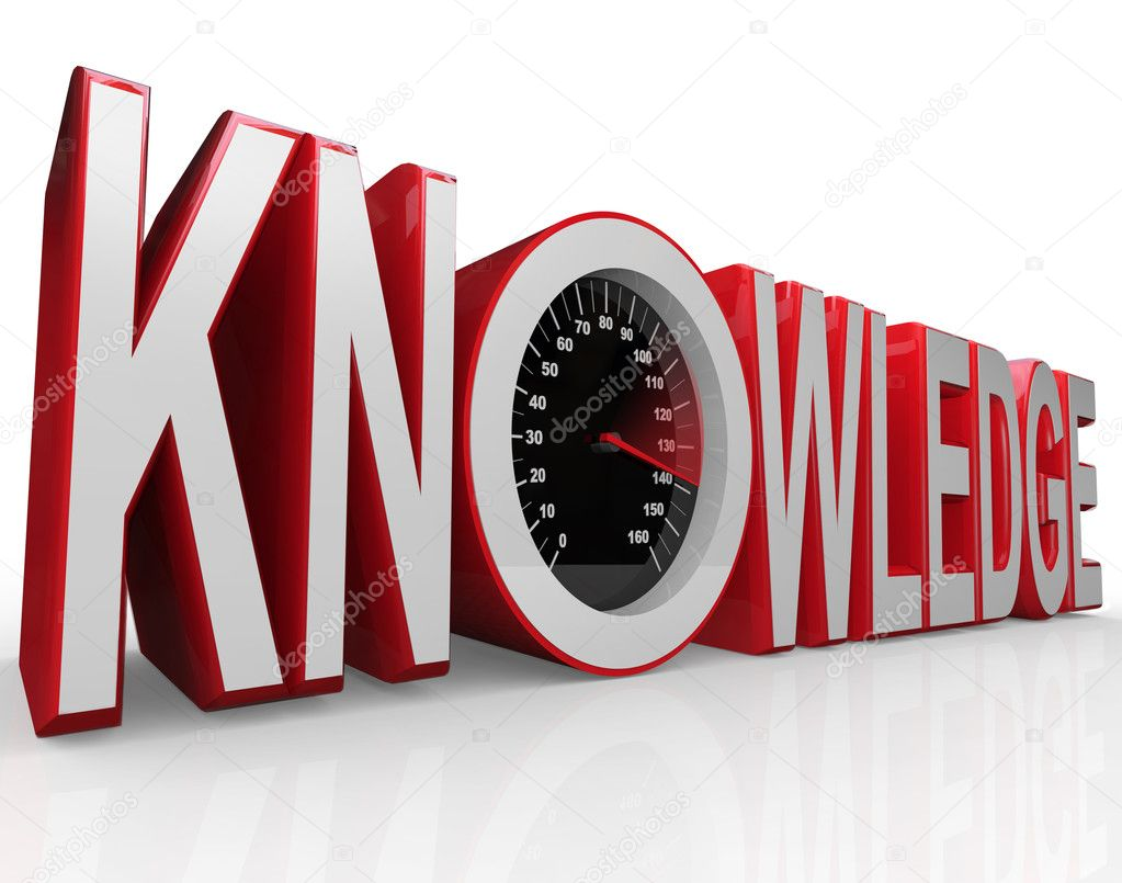 The word Knowledge with a speedometer in it symbolizing the fact that learning and gathering information is power and drives you to success  Stock Photo #9057401