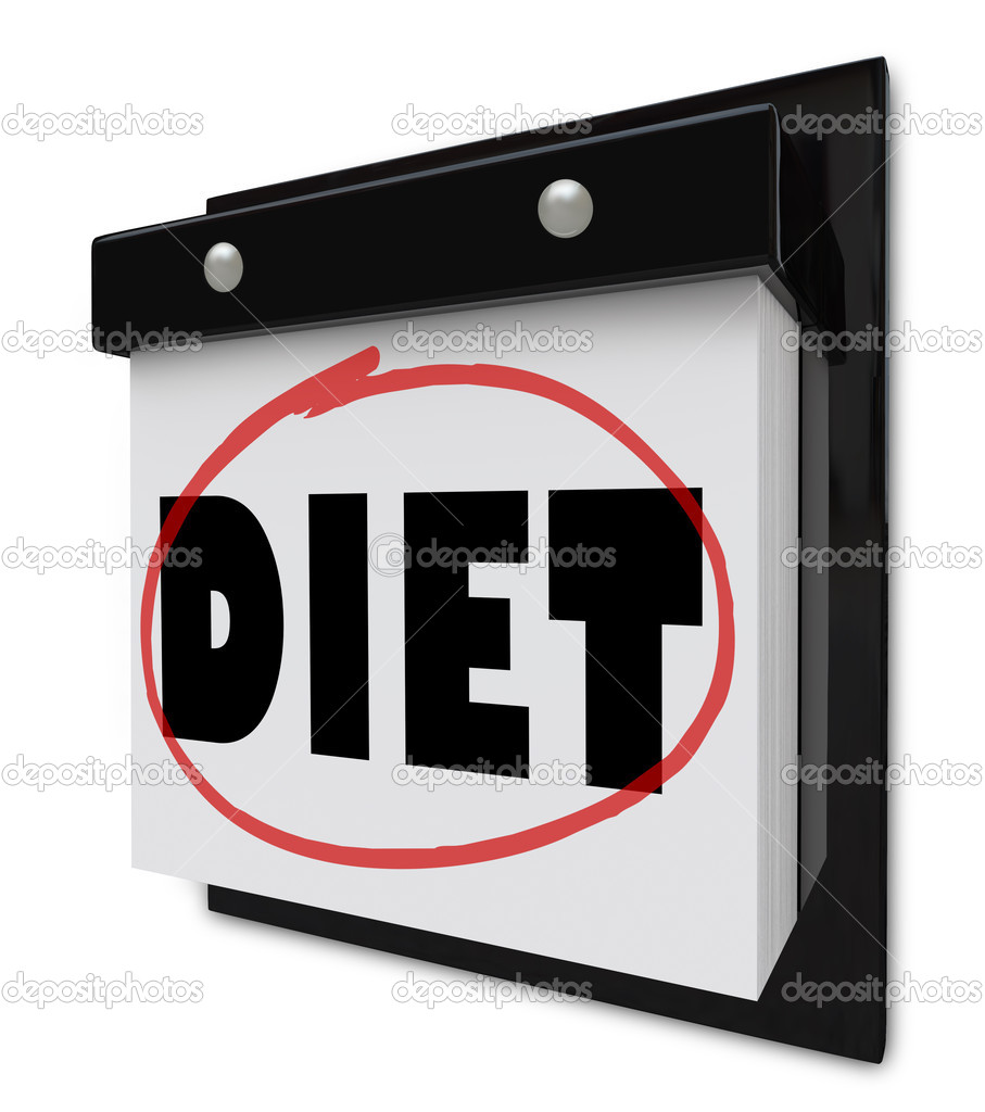 A wall calendar with the word Diet circled by a red marker to remind you of your plan and goal to lose weight and get healthier — Stock Photo #9057566