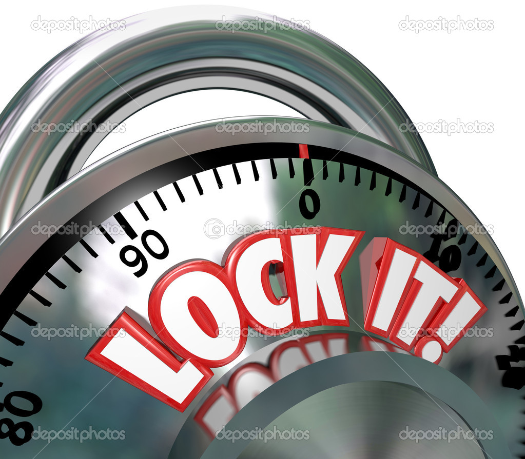 The words Lock It on a metal combination lock to symbolize safe and secure nature of a locked area for security — Stock Photo #9057641