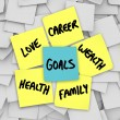 Stock Photo: Goals on Sticky Notes Health Wealth Career Love