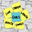 Goals on Sticky Notes Health Wealth Career Love - Stock Photo