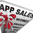 Stock Photo: App Sales Thermometer Rising Revenues Apps Store