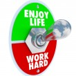 Stock Photo: Enjoy Life vs. Work Hard Balance Toggle Switch