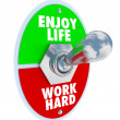 Enjoy Life vs. Work Hard Balance Toggle Switch - Stock Photo