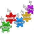 Synergy Partners Working Together in Teamwork for Success - Stockfoto