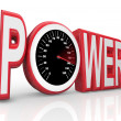 Power Word Speedometer Powerful Energy Speed Racing - Foto Stock