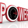 Power Word Speedometer Powerful Energy Speed Racing - Stock Photo