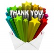 Thank You Words in Open Envelope Grateful Message — Foto de Stock