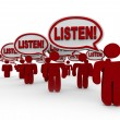 Listen - Many Talking Demanding Attention - Foto de Stock