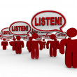 Listen - Many Talking Demanding Attention — Stock Photo