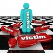 One Survivor Among Many Victims Person Stands Alone - Stock Photo