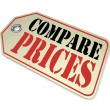 Compare Prices Tag Price Comparison Shopping — Stock Photo