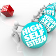 High Vs Low Self Esteem Losing Race of Confidence Attitude - Stock Photo