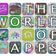 The World of Apps Application Tiles Spell Words - Stock Photo
