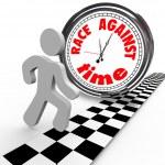 Race Against Time Clock vs Runner Finish Line — Stock Photo