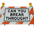 Stock Photo: Can You Break Through Question on Barricade Roadblock