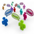 Foto Stock: Share Speech Bubbles Giving Sharing Comments