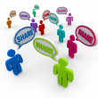 Stock Photo: Share Speech Bubbles Giving Sharing Comments