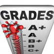 Grades on Thermometer Rising Past A plus Perfect Score — Stock Photo
