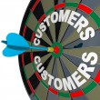 Dart in Bulls-Eye Target Customers Word  on Dartboard - Stock Photo