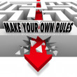 Make Your Own Rules Arrow Breaks Free of Maze - Stock Photo