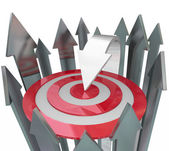 One Unique Arrow Better Than Rest at Finding Target — Stock Photo