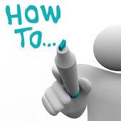 Hoe op advies consultant schrijft woorden instructies — Stockfoto