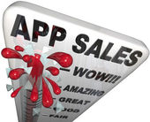 App Sales Thermometer Rising Revenues Apps Store — Stock Photo