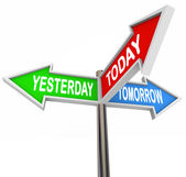 Yesterday Today Tomorrow Past Present Future Arrow Signs — Stock Photo