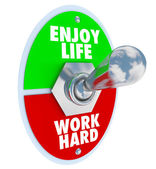 Enjoy Life vs. Work Hard Balance Toggle Switch — Stock Photo
