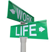 Work vs Life Balance Choices Two Way Street Road SIgns — Stock Photo