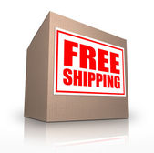 Free Shipping Cardboard Box Ship Your Order No Cost — Stock Photo