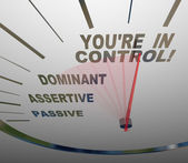 You're in Control Speedometer Agressive and Assertive — Stock Photo
