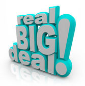 Real Big Deal 3D Words Important News Announcement — Foto Stock