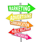 Marketing Advertising Communication on Arrow SIgns — Stock Photo