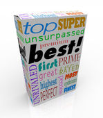 Best Words on Product Box Top Premium Buy — Stock Photo