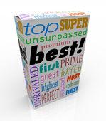 Best Words on Product Box Top Premium Buy — Stock Photo