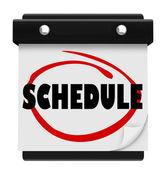 Rozvrh slovo nástěnný kalendář pamatovat události — Stock fotografie