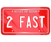 2 Fast Words on Red Vanity License Plate Speedy Driver — Photo
