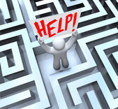 Person in Labyrinth Maze Holding Help Sign — Stock Photo