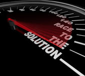 Race to the Solution Speedometer Solve Problem — Stock Photo