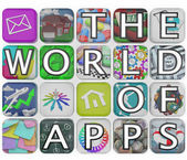 The World of Apps Application Tiles Spell Words — Stock Photo