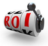 ROI Return on Investment Slot Machine Wheels — 图库照片