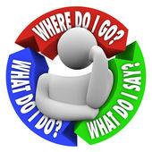 Gdzie iść, co powiedzieć, mylić osoby pytania — Zdjęcie stockowe