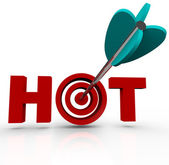 Target What's Hot Arrow in Bulls-Eye Word — Stock Photo