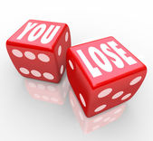 You Lose Words on Two Red Dice Failure — Stock Photo