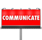 Communicate Word Large Billboard Share Information — Stock Photo