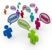 Las burbujas del discurso dando comentarios compartir compartir — Foto de Stock