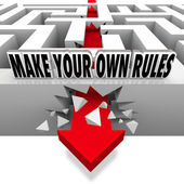 Make Your Own Rules Arrow Breaks Free of Maze — Stockfoto
