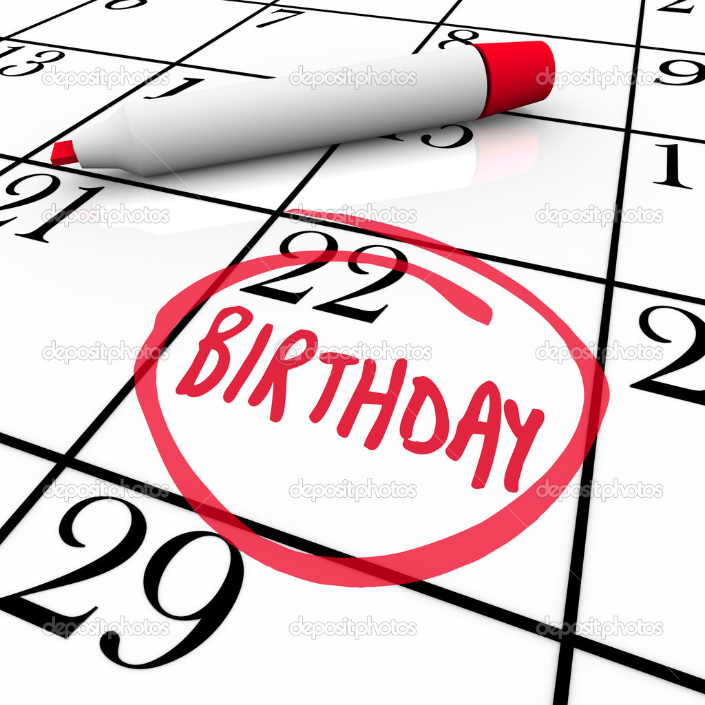 A day with the word Birthday circled on a calendar as a reminder of a party or celebration in honor of you, a friend, family member or co-worker — Lizenzfreies Foto #9687403